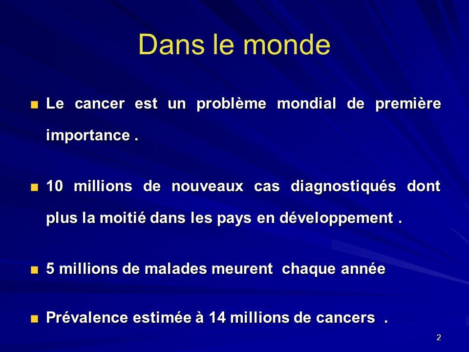 Dans le monde Le cancer est un problème mondial de première importance .