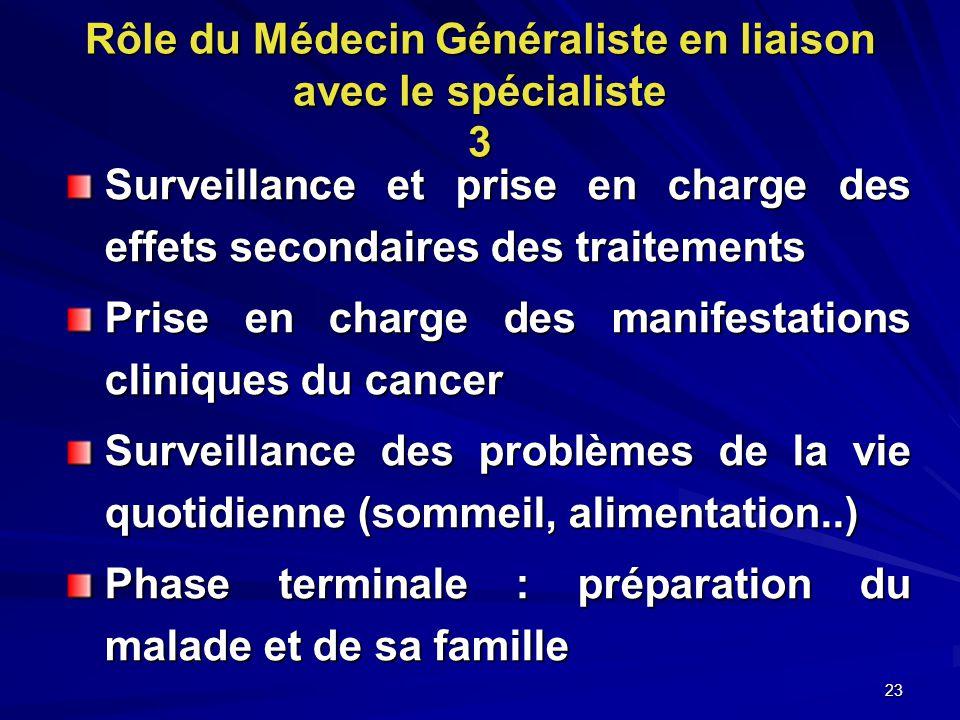 Rôle du Médecin Généraliste en liaison avec le spécialiste 3