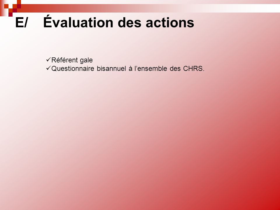 E/ Évaluation des actions
