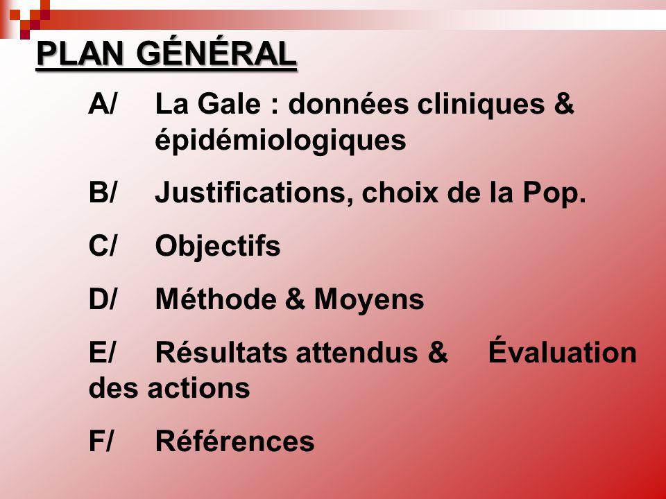 PLAN GÉNÉRAL A/ La Gale : données cliniques & épidémiologiques