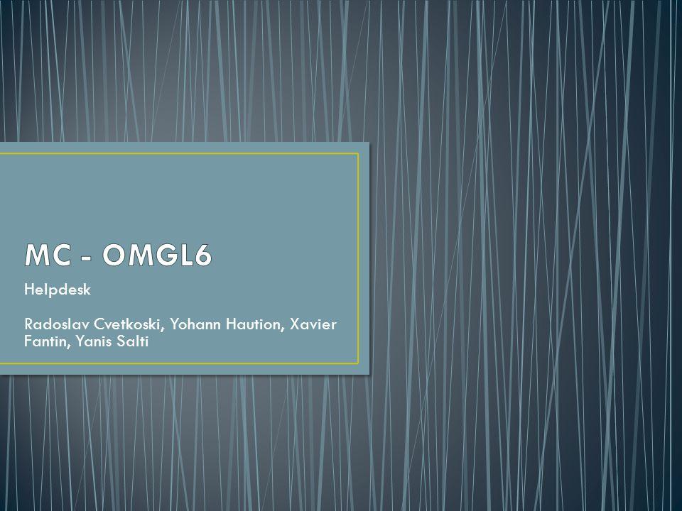 MC - OMGL6 Helpdesk Radoslav Cvetkoski, Yohann Haution, Xavier Fantin, Yanis Salti