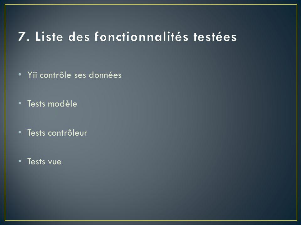 7. Liste des fonctionnalités testées