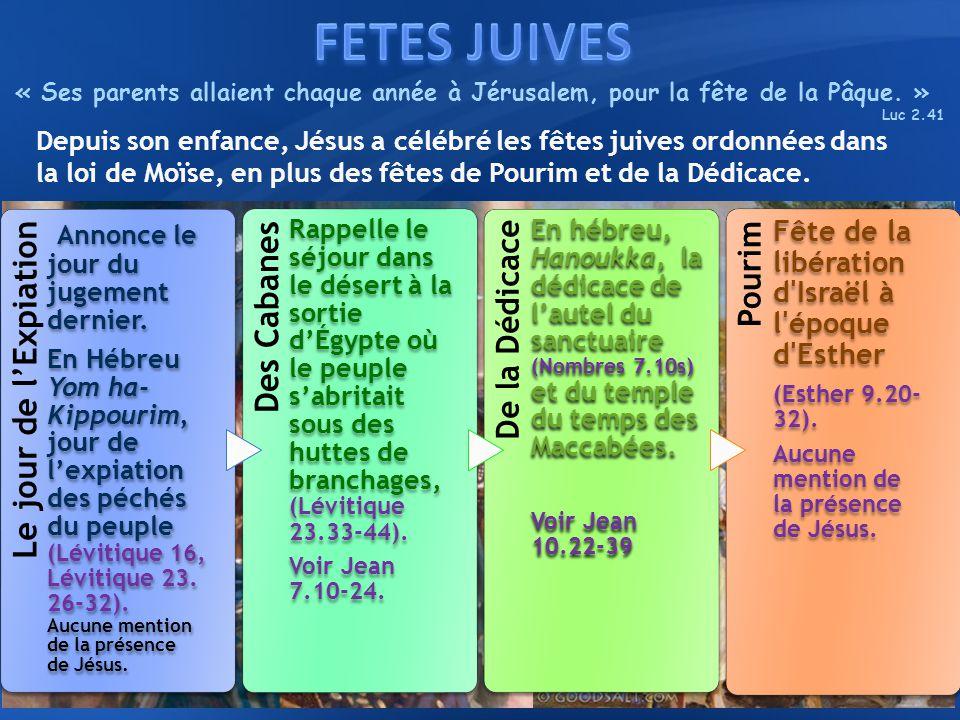 FETES JUIVES « Ses parents allaient chaque année à Jérusalem, pour la fête de la Pâque. » Luc 2.41.