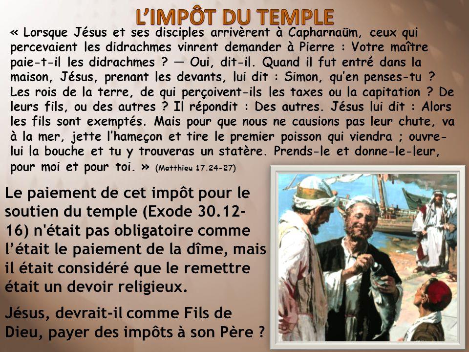 L'IMPÔT DU TEMPLE