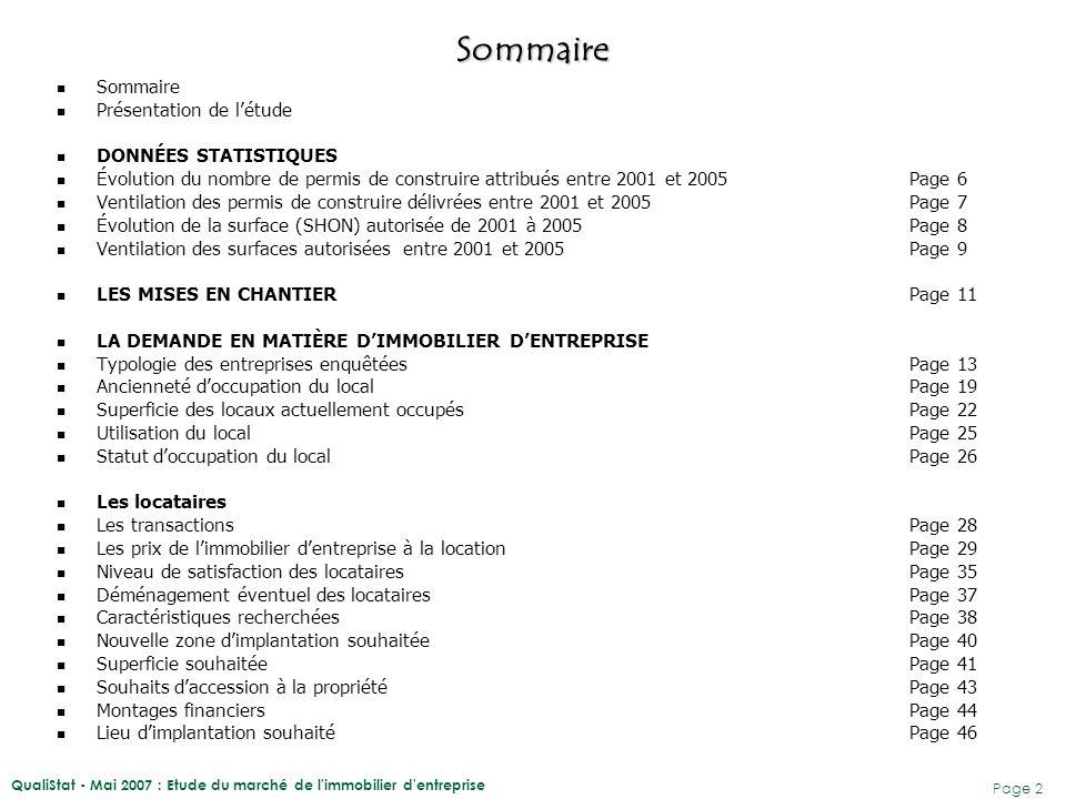 Sommaire Sommaire Présentation de l'étude DONNÉES STATISTIQUES