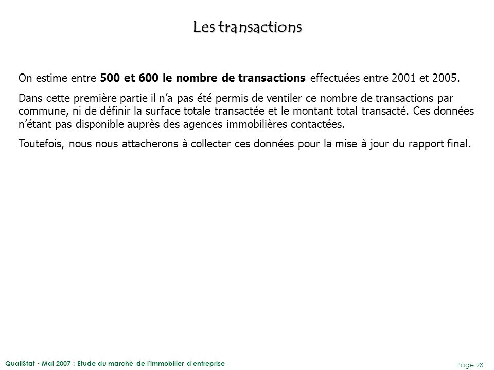Les transactions On estime entre 500 et 600 le nombre de transactions effectuées entre 2001 et 2005.