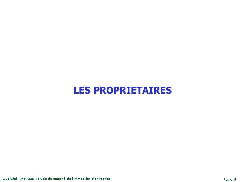 LES PROPRIETAIRES QualiStat - Mai 2007 : Etude du marché de l immobilier d entreprise