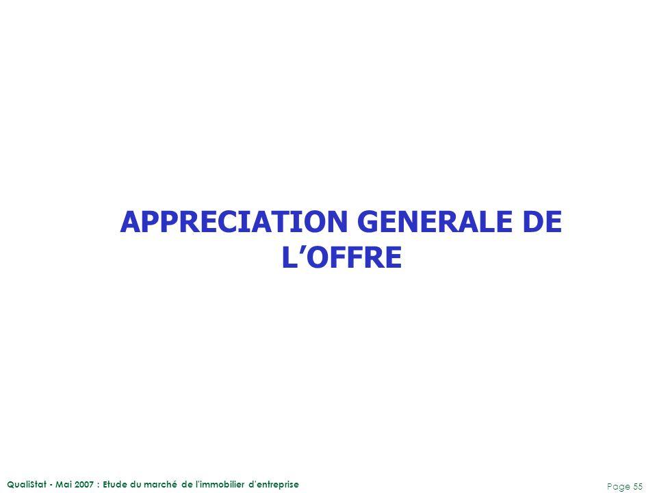 APPRECIATION GENERALE DE L'OFFRE