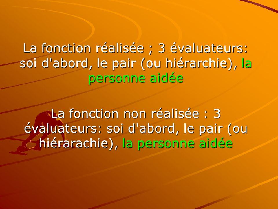La fonction réalisée ; 3 évaluateurs: soi d abord, le pair (ou hiérarchie), la personne aidée