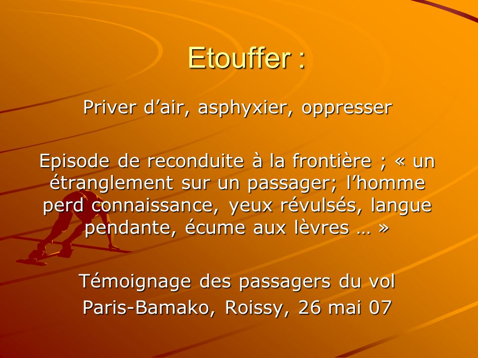 Etouffer : Priver d'air, asphyxier, oppresser