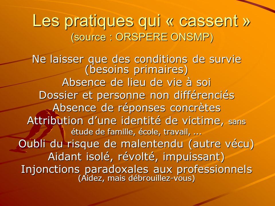 Les pratiques qui « cassent » (source : ORSPERE ONSMP)