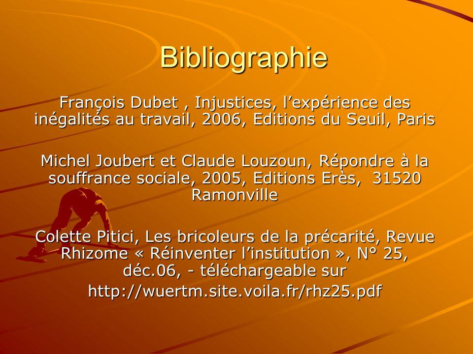 Bibliographie François Dubet , Injustices, l'expérience des inégalités au travail, 2006, Editions du Seuil, Paris.