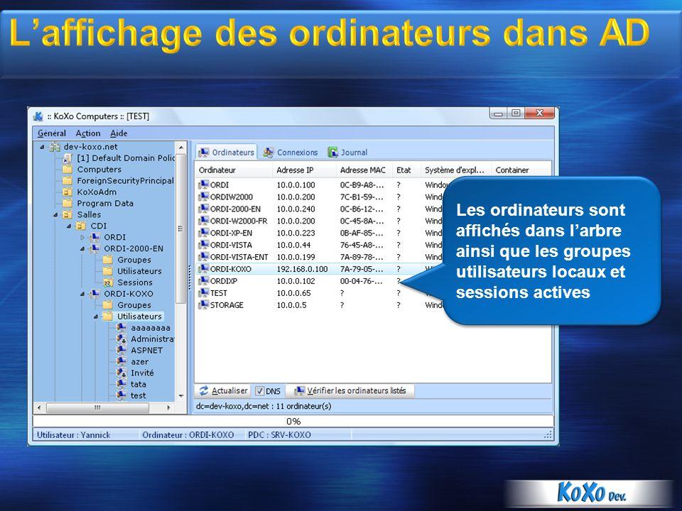 L'affichage des ordinateurs dans AD