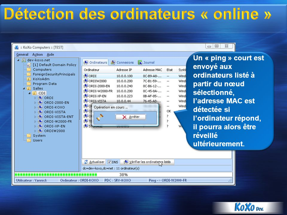 Détection des ordinateurs « online »