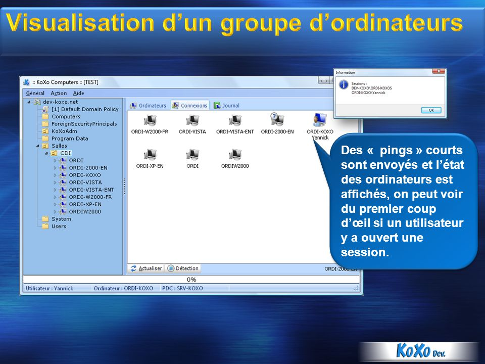 Visualisation d'un groupe d'ordinateurs