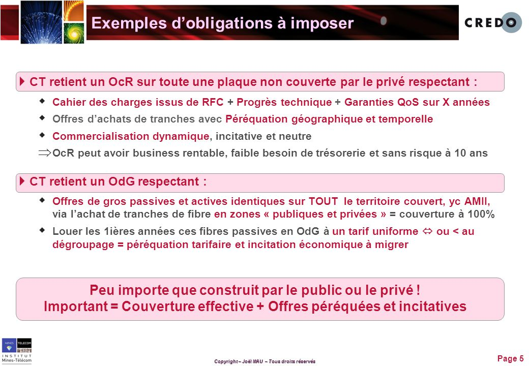 Exemples d'obligations à imposer