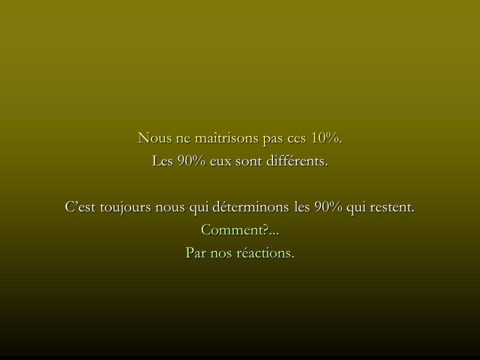 Nous ne maîtrisons pas ces 10%. Les 90% eux sont différents.