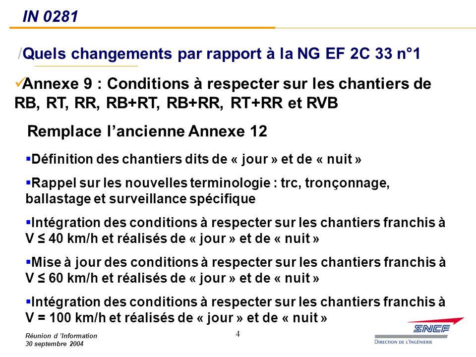 Quels changements par rapport à la NG EF 2C 33 n°1