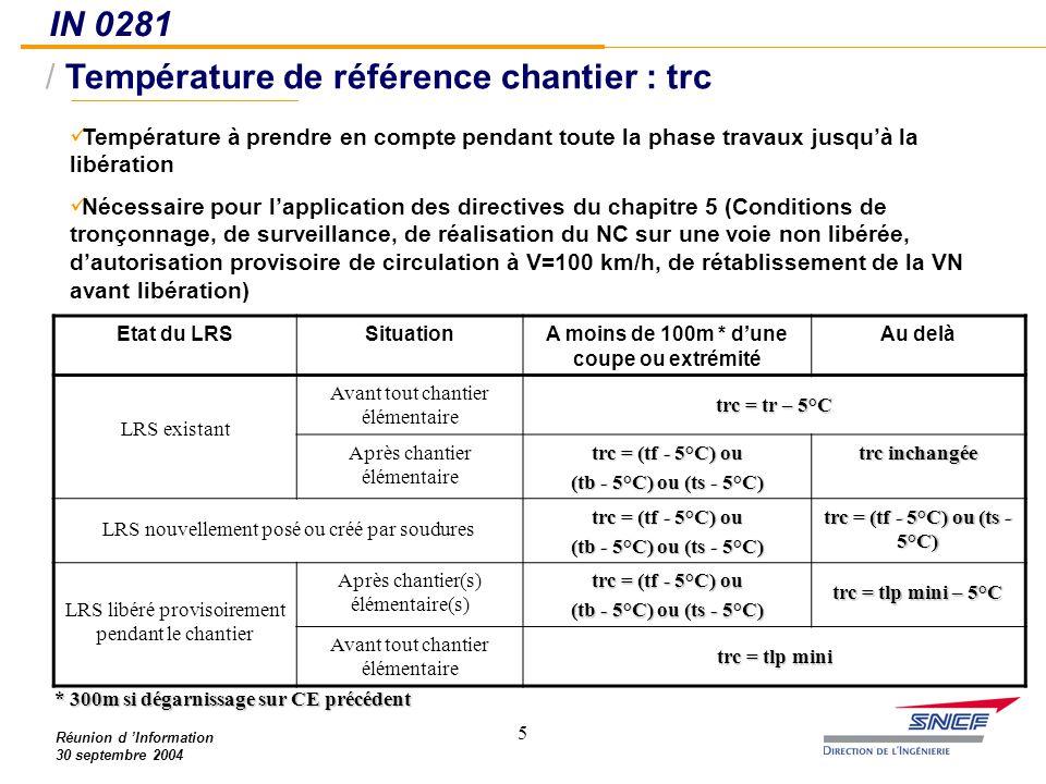 Température de référence chantier : trc