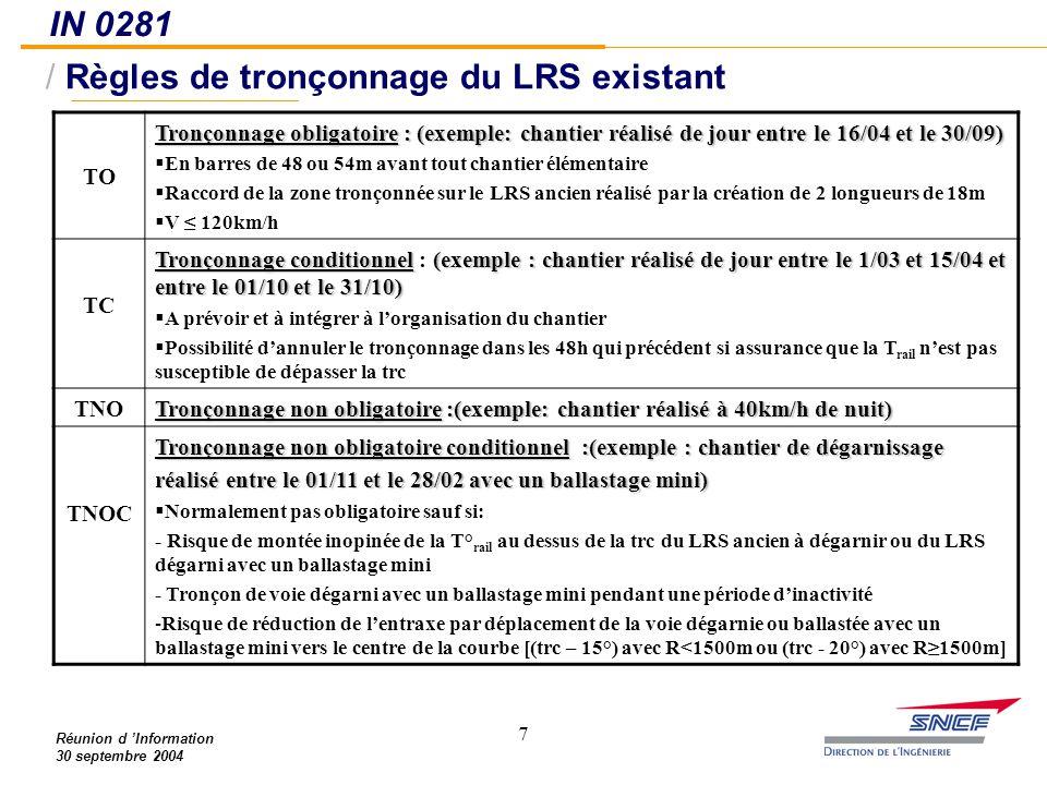 Règles de tronçonnage du LRS existant