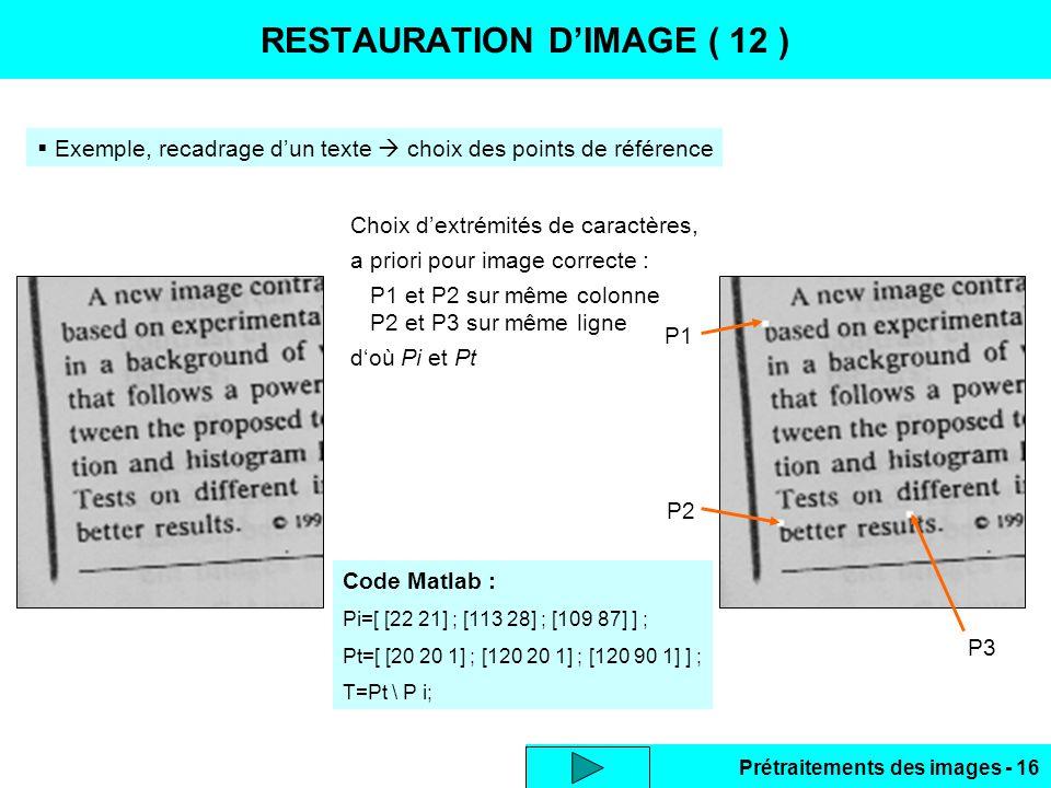 RESTAURATION D'IMAGE ( 12 )