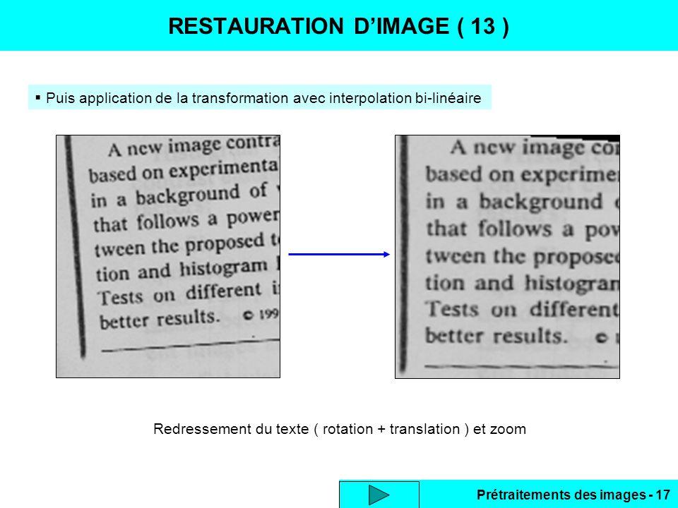 RESTAURATION D'IMAGE ( 13 )