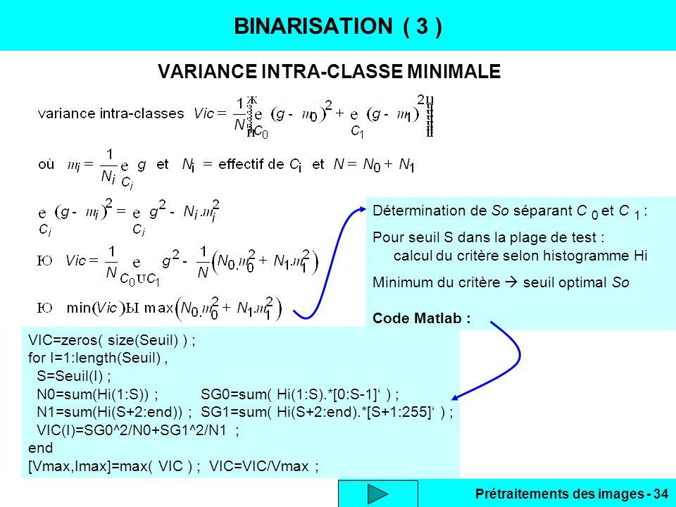 VARIANCE INTRA-CLASSE MINIMALE