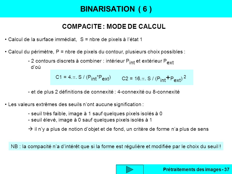 COMPACITE : MODE DE CALCUL