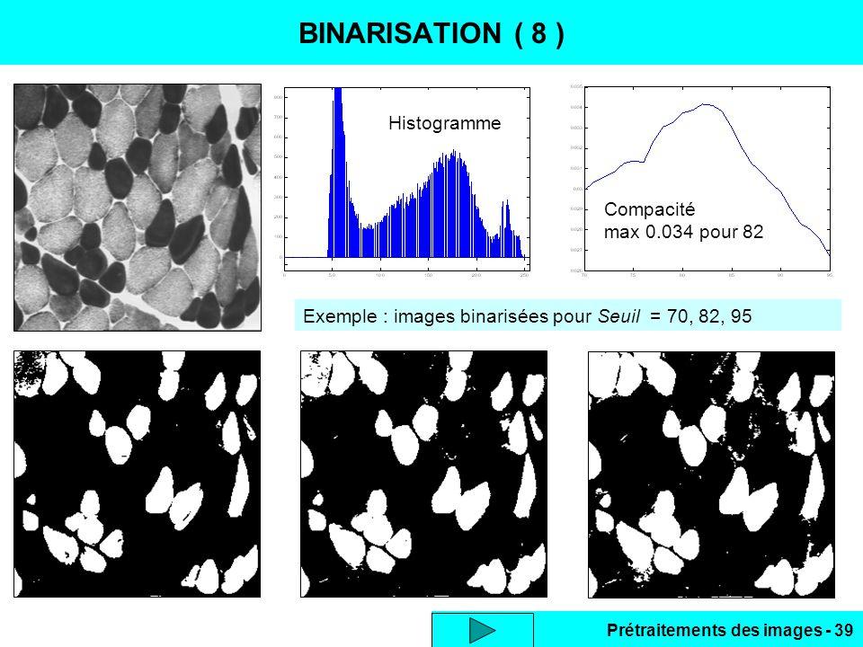 BINARISATION ( 8 ) Histogramme Compacité max 0.034 pour 82