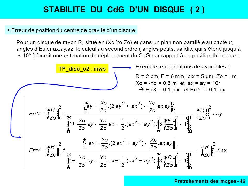 STABILITE DU CdG D'UN DISQUE ( 2 )