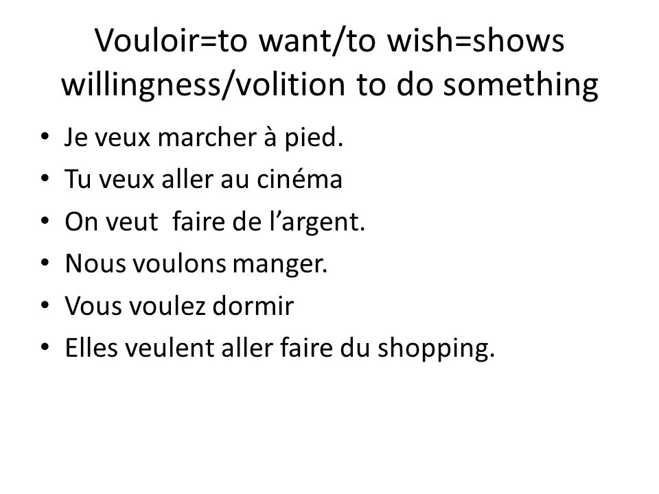 Vouloir=to want/to wish=shows willingness/volition to do something