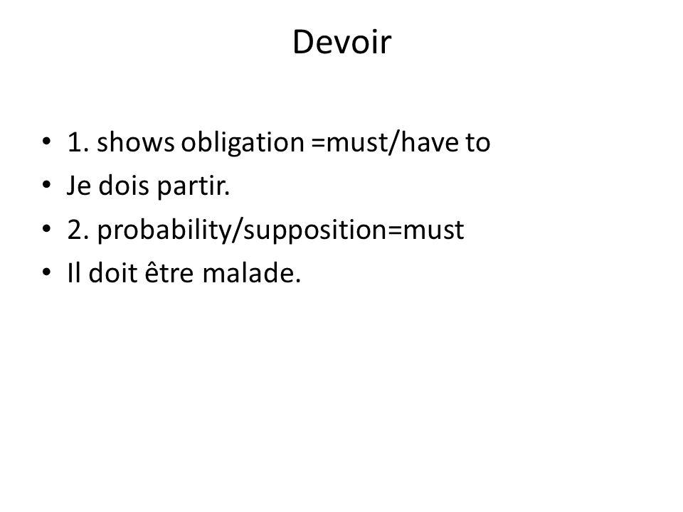 Devoir 1. shows obligation =must/have to Je dois partir.
