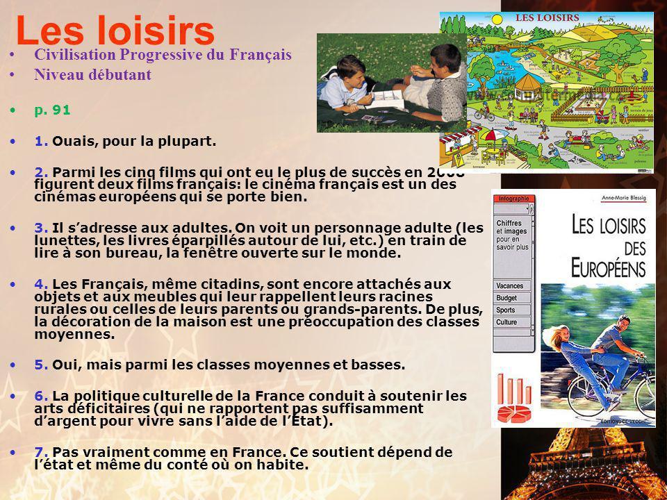 Les loisirs Civilisation Progressive du Français Niveau débutant p. 91