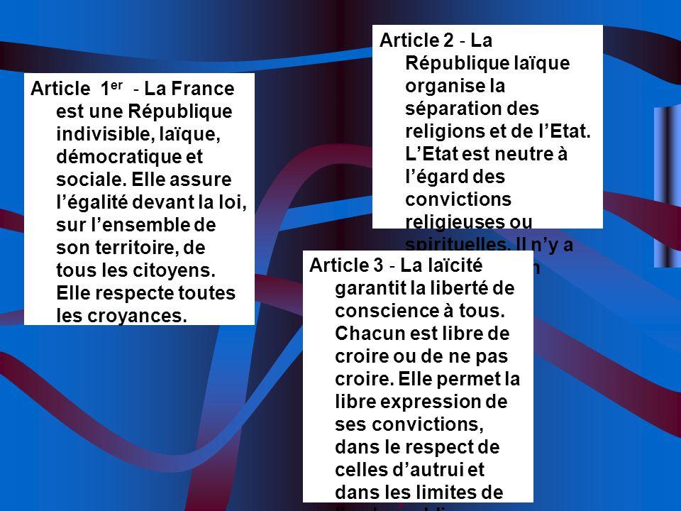 Article 2 ‐ La République laïque organise la séparation des religions et de l'Etat. L'Etat est neutre à l'égard des convictions religieuses ou spirituelles. Il n'y a pas de religion d'Etat.