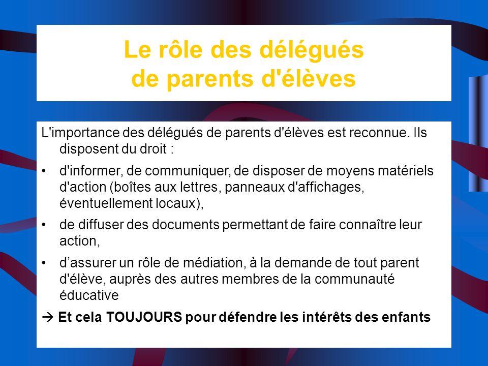Le rôle des délégués de parents d élèves