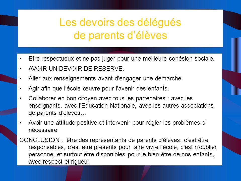 Les devoirs des délégués de parents d'élèves