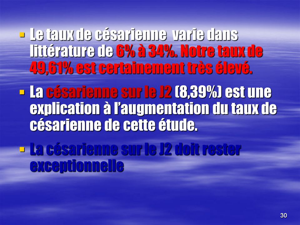 Le taux de césarienne varie dans littérature de 6% à 34%