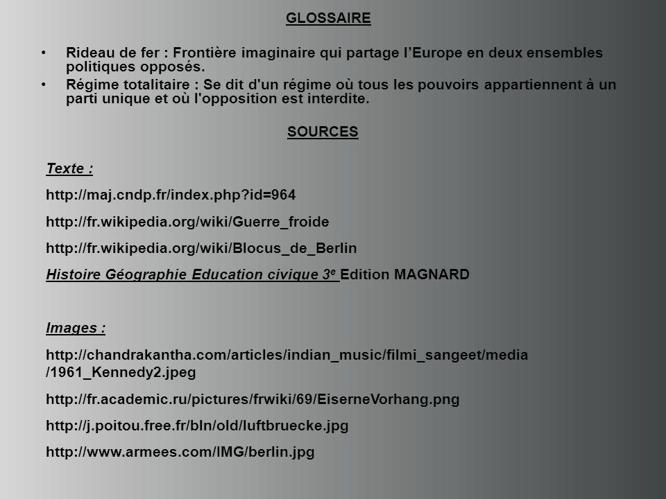 GLOSSAIRE Rideau de fer : Frontière imaginaire qui partage l'Europe en deux ensembles politiques opposés.