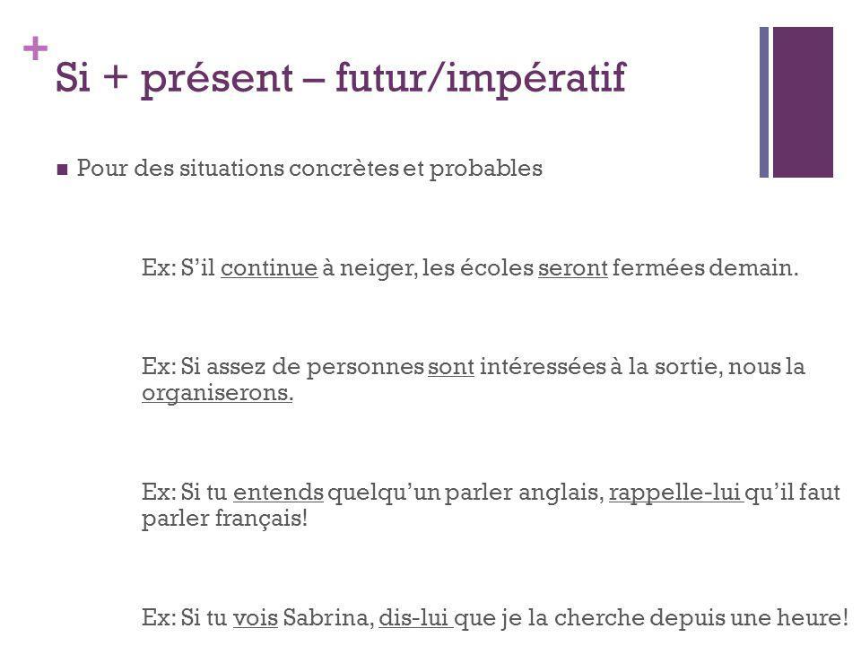 Si + présent – futur/impératif