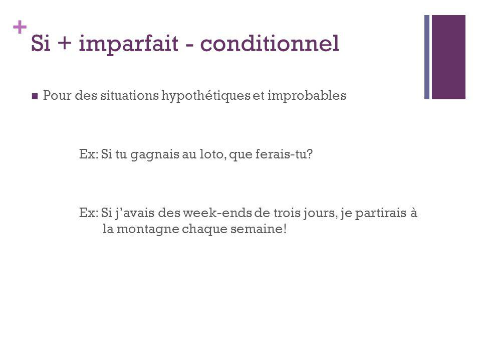 Si + imparfait - conditionnel