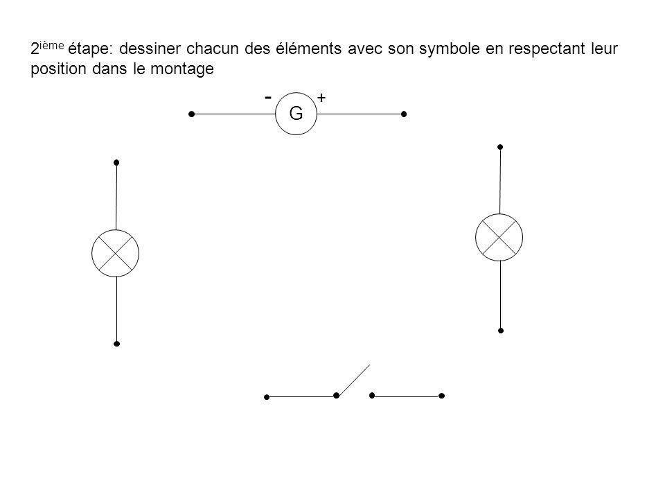 2ième étape: dessiner chacun des éléments avec son symbole en respectant leur position dans le montage