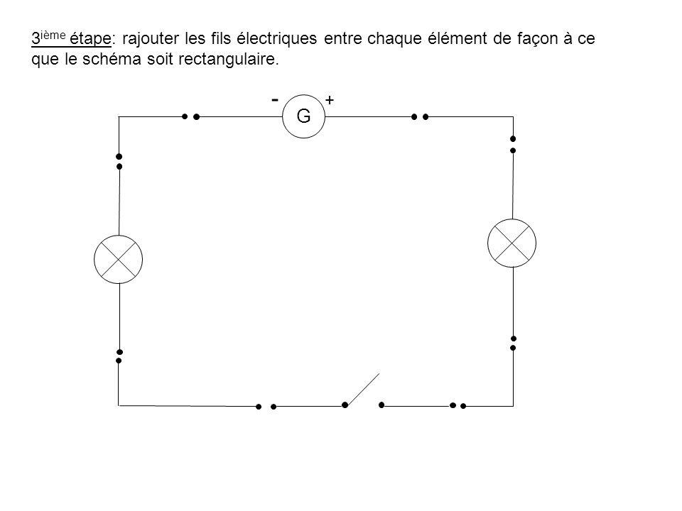 3ième étape: rajouter les fils électriques entre chaque élément de façon à ce que le schéma soit rectangulaire.