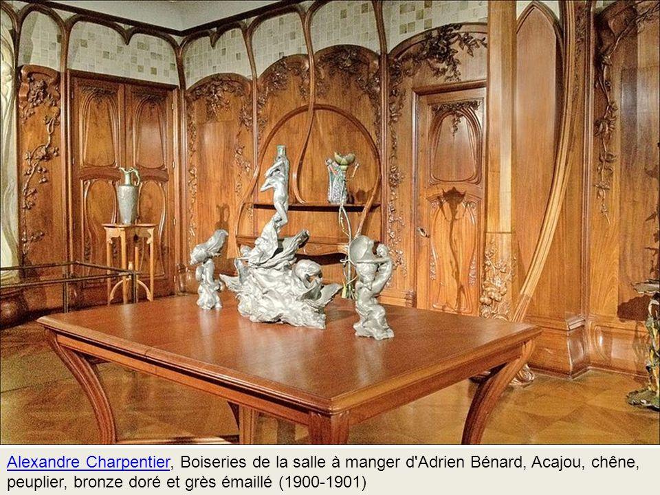 Alexandre Charpentier, Boiseries de la salle à manger d Adrien Bénard, Acajou, chêne, peuplier, bronze doré et grès émaillé (1900-1901)