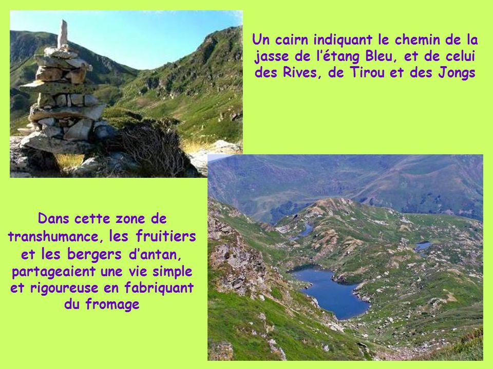 Un cairn indiquant le chemin de la jasse de l'étang Bleu, et de celui des Rives, de Tirou et des Jongs