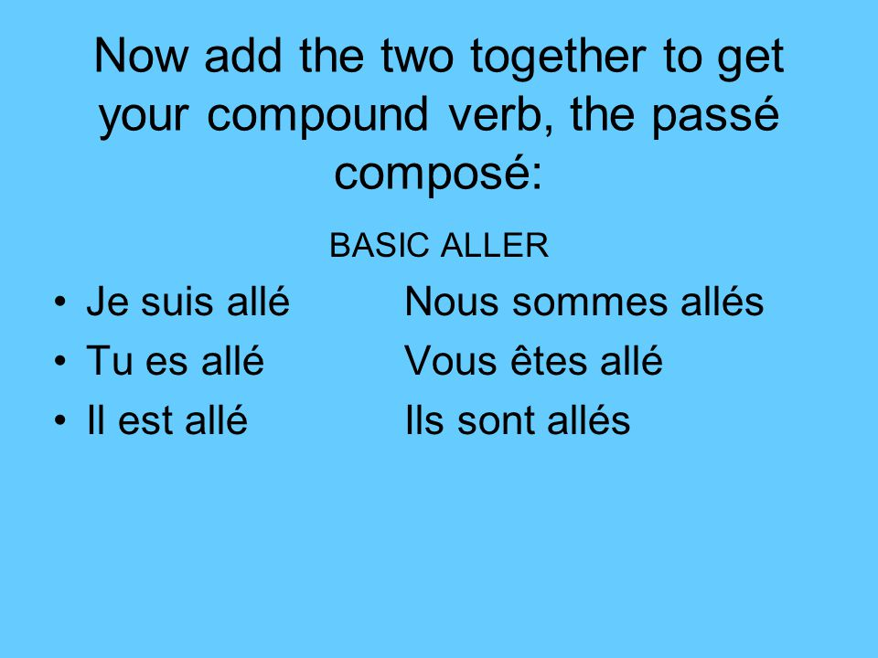 Now add the two together to get your compound verb, the passé composé: