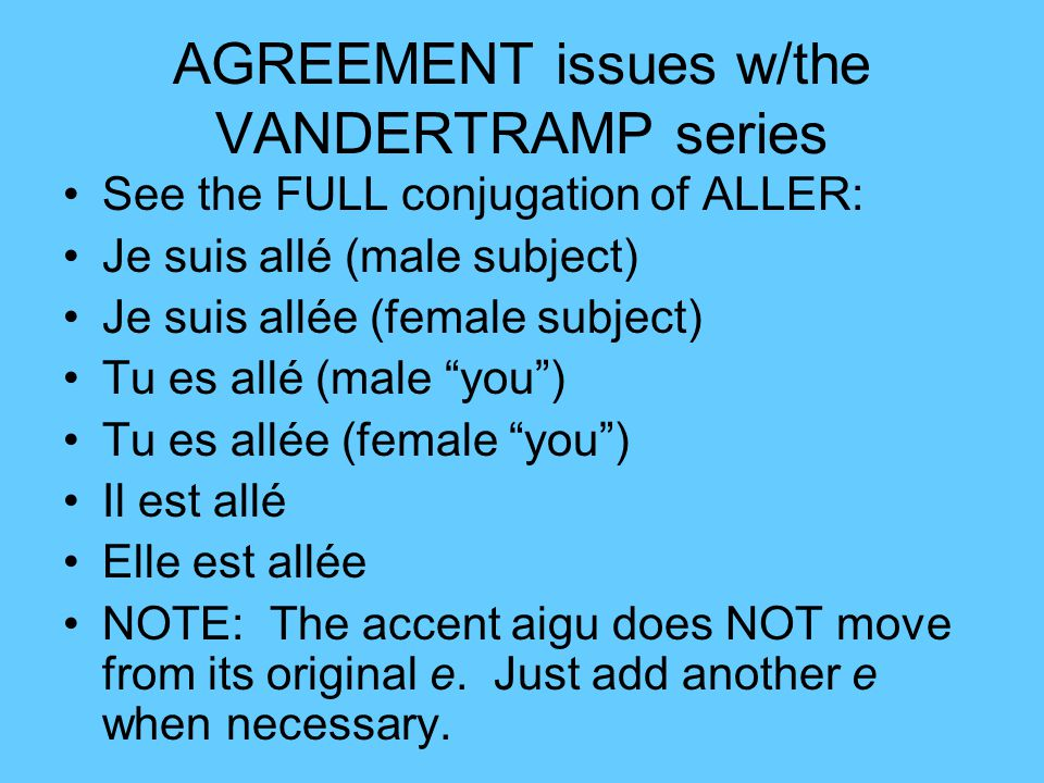 AGREEMENT issues w/the VANDERTRAMP series