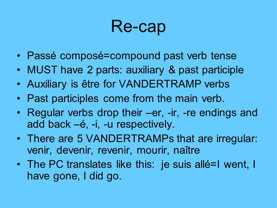 Re-cap Passé composé=compound past verb tense