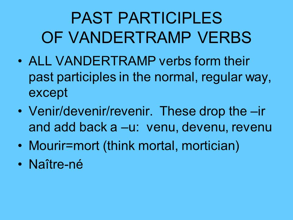 PAST PARTICIPLES OF VANDERTRAMP VERBS