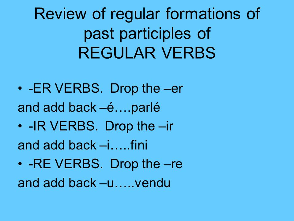Review of regular formations of past participles of REGULAR VERBS