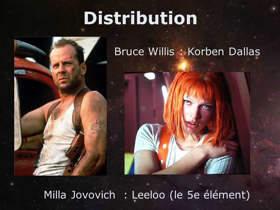 Distribution Bruce Willis : Korben Dallas